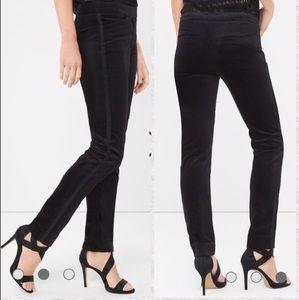 WHBM Velvet Tuxedo Stripe Slim Ankle Pants Black 0